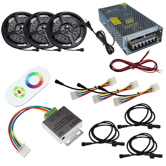 【スマコン50cm×3本セット】 非防水RGBテープライト+RF調光器+対応アダプター付き