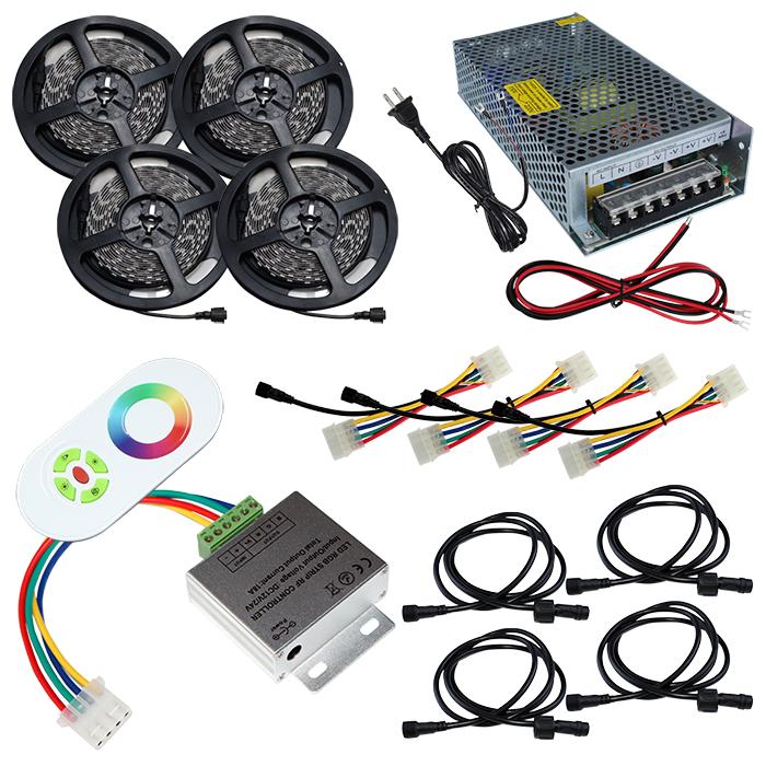 【スマコン100cm×4本セット】 非防水RGBテープライト+RF調光器+対応アダプター付き