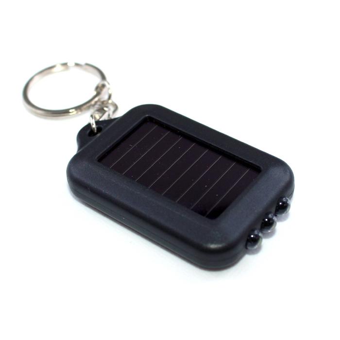 7665(1000個) キーチェーンミニソーラー3連LEDライト 黒ボディー