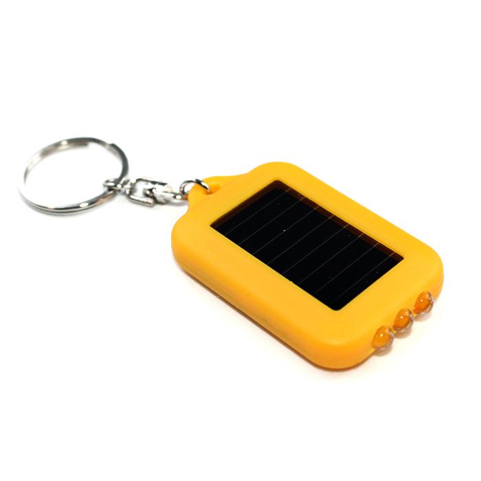 7666(1000個) キーチェーンミニソーラー3連LEDライト 黄ボディー
