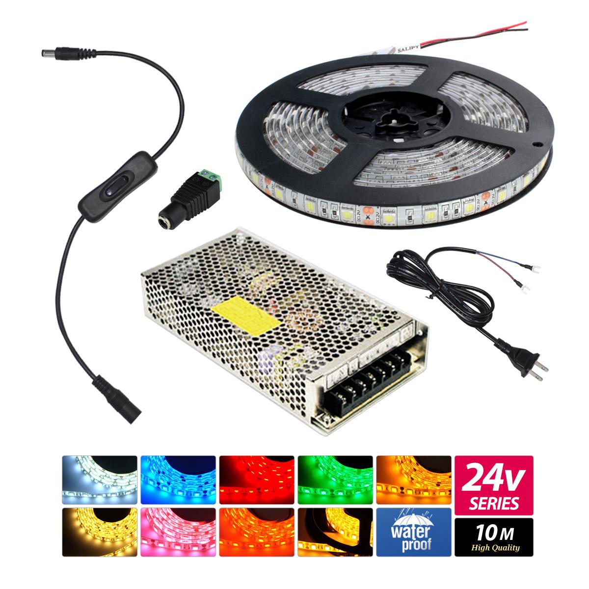 【10m】 防水 24V LEDテープライト3チップ 1本セット [AC100V-DC24V]