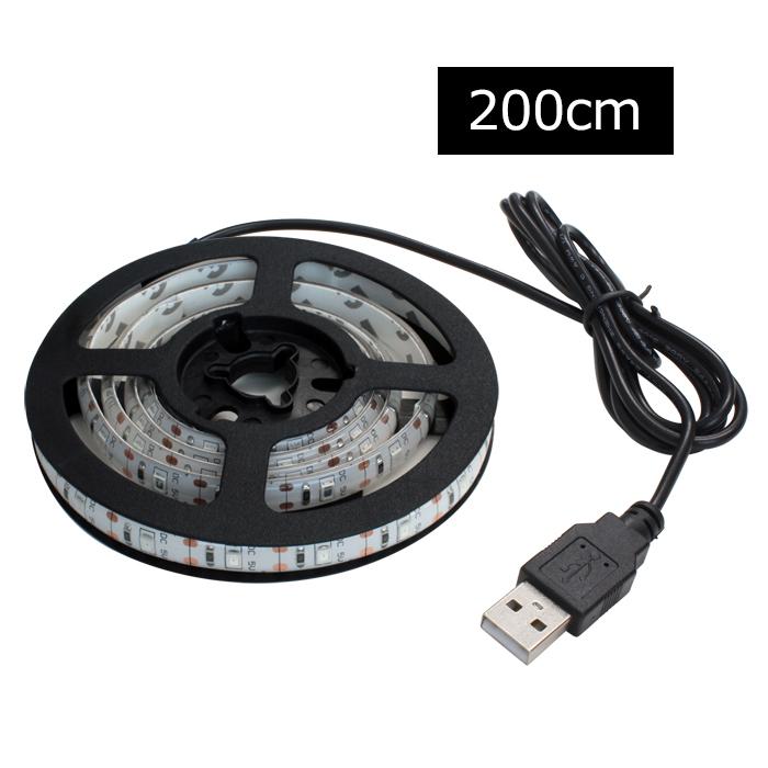 無料サンプルOK 賜物 USBを差すだけの簡単点灯 単色 USB 防水LEDテープライト DC5V 白ベース 200cm 1チップ