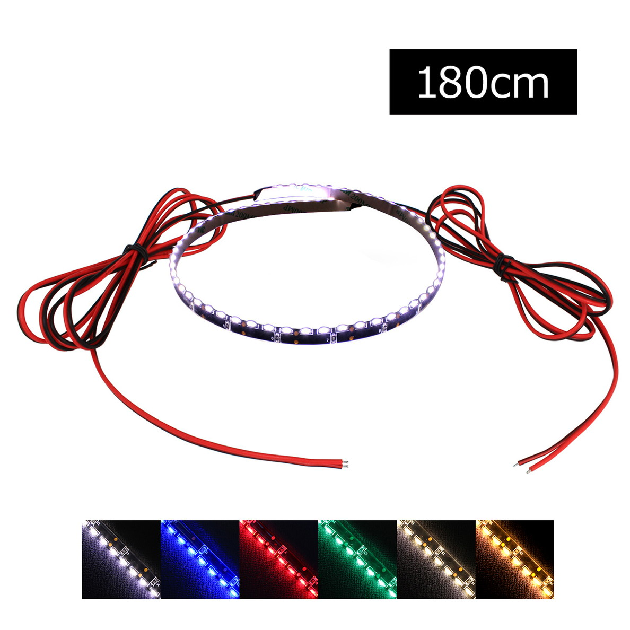 側面発光12V(10本) 防水LEDテープライト 1チップ 180cm (120LED/m) 両端子 [黒ベース]