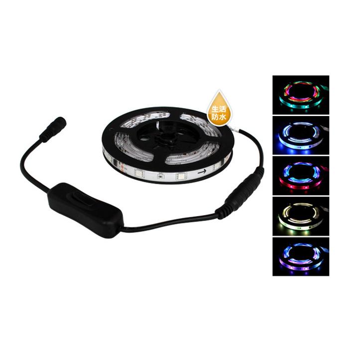Kaito6733(10本) 自動で流れる フルカラー (RGB) LEDテープライト 防水 400cm 12V [ON/OFFスイッチ付]