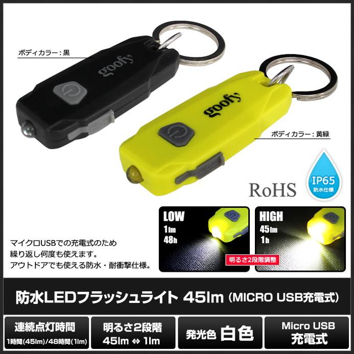 [100個] 防水 LEDフラッシュライト 45lm (MICRO USB充電式)