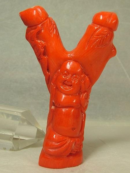 ■龍香堂■☆珍品!白芯赤珊瑚彫刻置物「布袋」92mm(v10)