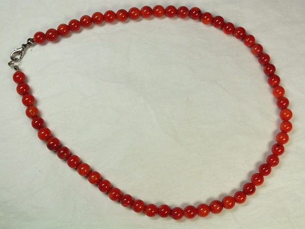 ■龍香堂■☆赤珊瑚ネックレス(7mm丸粒)v1