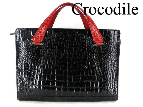 ■龍香堂■☆クロコダイル 配色デザイン ハンド トートバッグ黒×赤