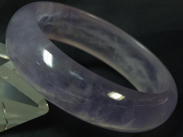 ■龍香堂■☆ミャンマーラベンダー氷種翡翠(アイスジェダイト)バングル57mm(v17)