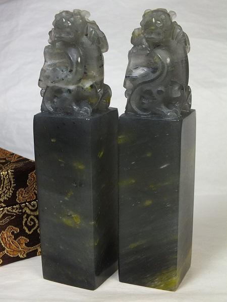 ■龍香堂■☆寿山石凍石印材「貔貅(ひきゅう)」133mm(v13)