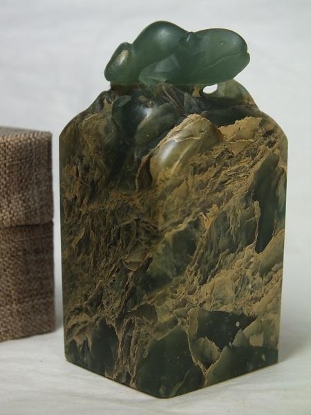 ■龍香堂■☆寿山石(茘枝凍)印材置物「蛙」61mm(v37)