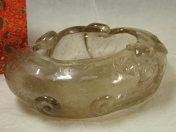 ■龍香堂■☆【未使用古物】茶水晶製貔貅(ひきゅう)水盤118mm