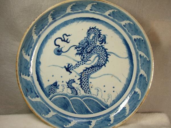 ?龍香堂?☆【美品】唐物「鯉魚成為龍図大皿」