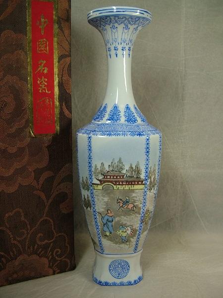 ■龍香堂■☆中国高級工芸 景徳鎮製薄胎花瓶『湖水景』