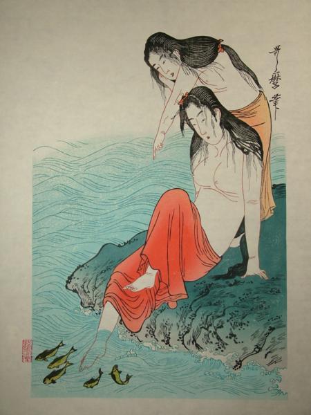 ■龍香堂■☆「劉長青」復刻木版 喜多川歌麿『鮑取り』