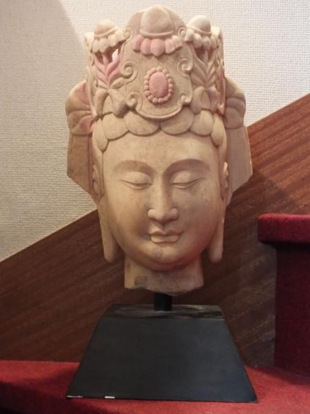 ■龍香堂■☆【中国古物】漢白玉(かんぱくぎょく)観音頭像C