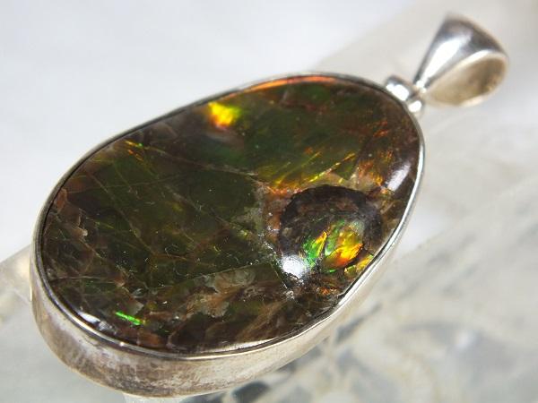 ■龍香堂■☆アンモライト(アンモナイト宝石化石)銀枠ペンダントトップ34mm