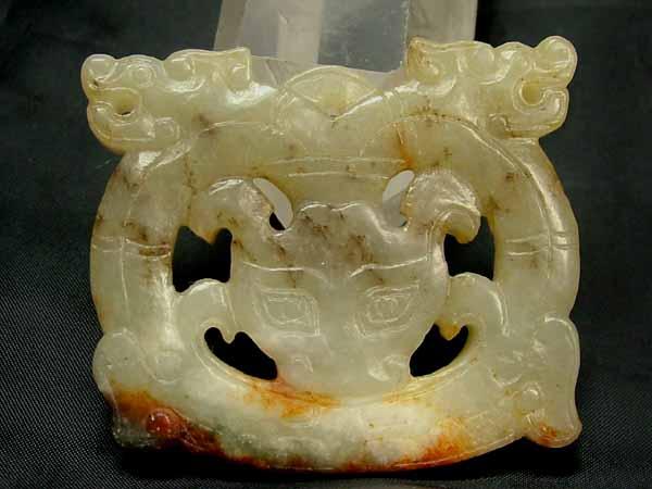 ■龍香堂■☆旧中国玉(白玉はくぎょく)彫物B