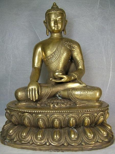 ■龍香堂■☆チベット神 銅製仏像「釈迦牟尼仏」265mm