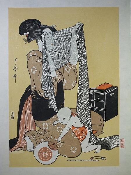 ■龍香堂■ 復刻木版浮世絵 喜多川歌麿『針仕事(左)』