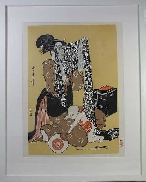 ■龍香堂■ 復刻木版浮世絵 喜多川歌麿『針仕事(左)』額装済