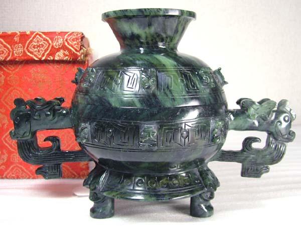 ■龍香堂■☆珍品!酒泉「夜光杯」青銅器型蓋付鉢215mm