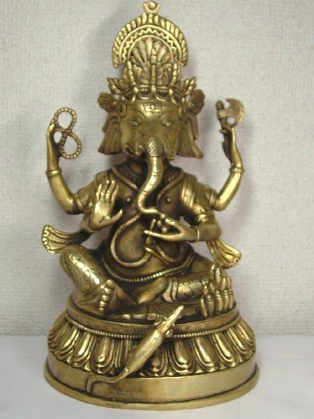 ■龍香堂■☆チベット神 銅製仏像「ガネーシャ」