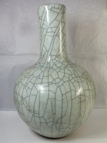 ■龍香堂■☆【中国骨董品】哥窯(かよう)「細首花瓶」345mm