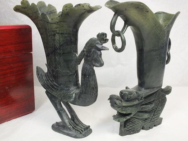 長い歴史を持つ民間工芸品です ■龍香堂■☆【難有】酒泉「夜光杯」龍鳳酒杯