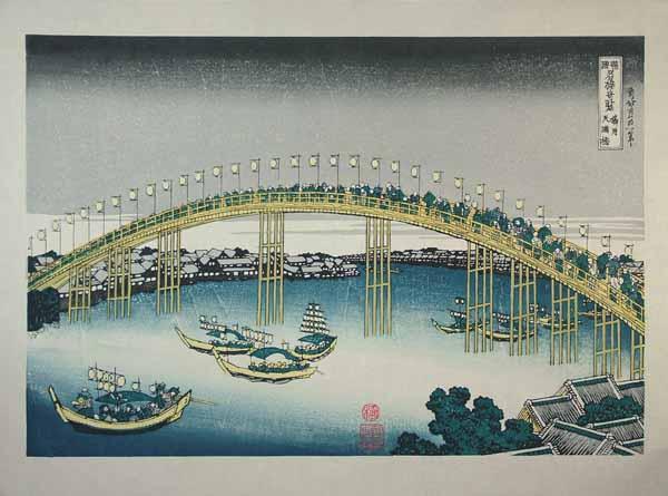 ■龍香堂「劉長青」復刻木版浮世絵 葛飾北斎『摂州天満橋』