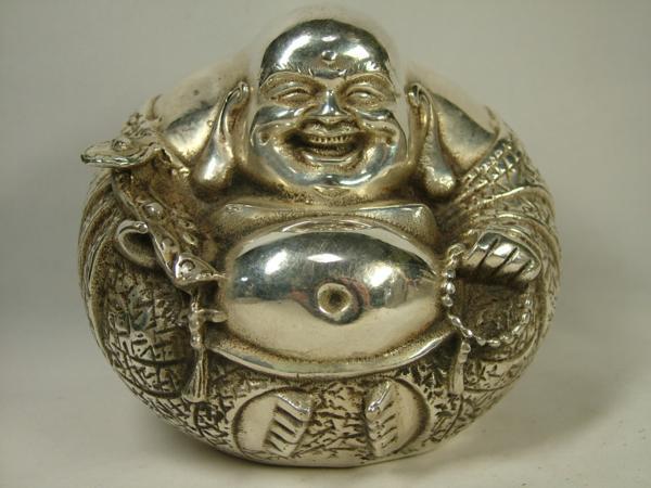 ■龍香堂■☆包銀(銅製銀メッキ)置物「布袋像」100mm