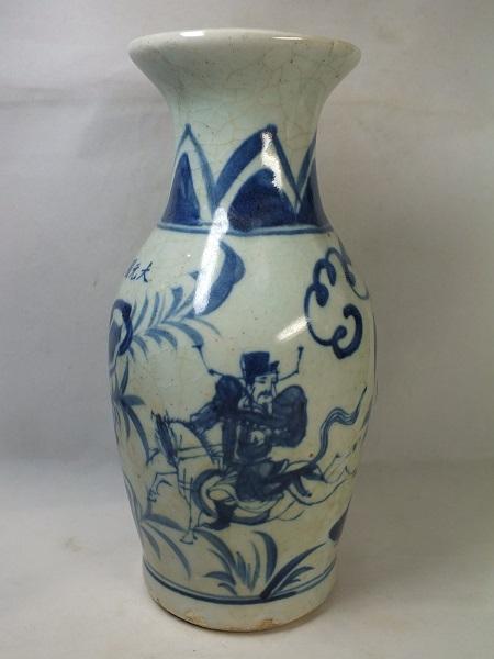 ■龍香堂■☆【中古美品】中国骨董品「青色人物広口花瓶」210mm