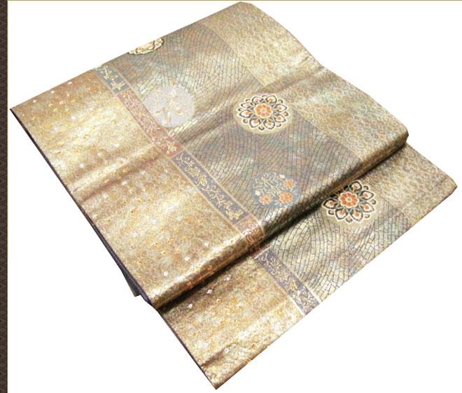 送料無料 袋帯 正絹 金糸色 フォーマル 正月