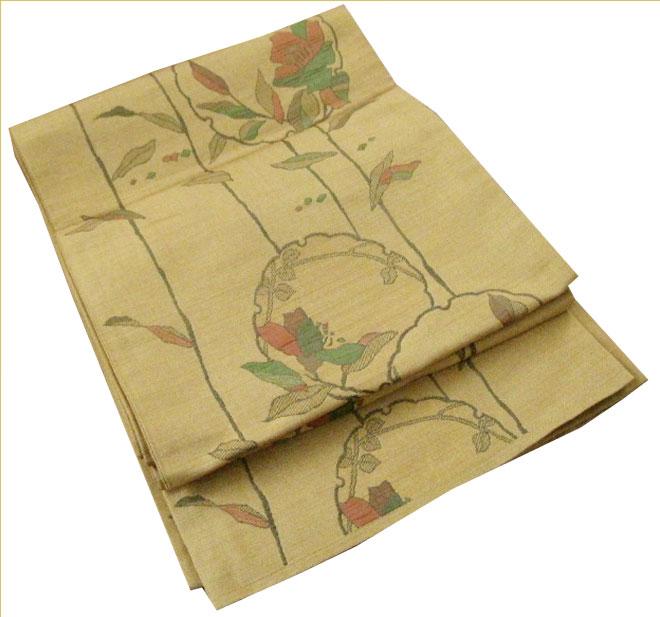 袋帯 正絹 薄い黄土色 正月