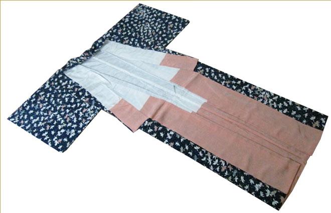 着物単衣紬正絹Sサイズ質屋出店/リサイクル着物/リサイクルきもの/アンティーク着物/中古着物