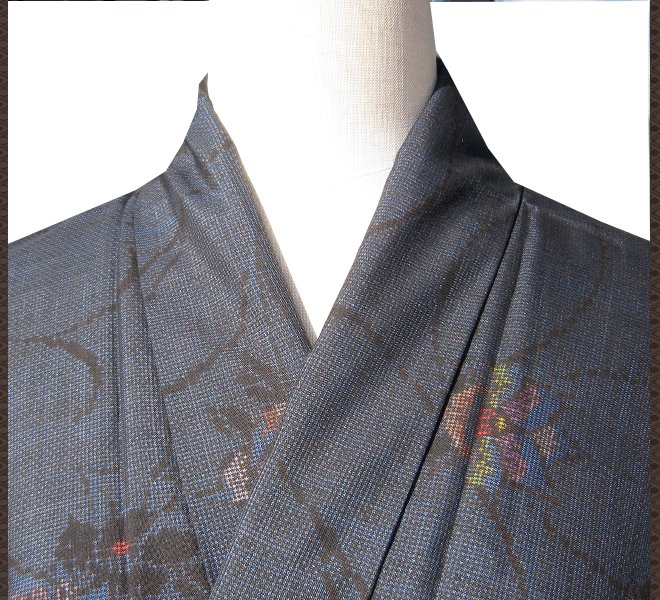 着物 大島紬 紺色 花柄 正絹 未使用 リサイクル着物 中古着物