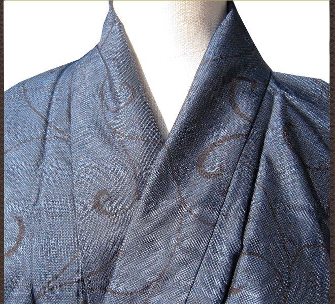 着物 小紋 正絹 紺色 草模様 シンプル リサイクル着物 中古着物