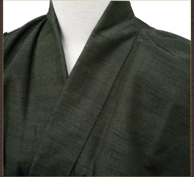 着物 男 メンズ 紬 アンサンブル 長襦袢 セット 正絹 小さめサイズ