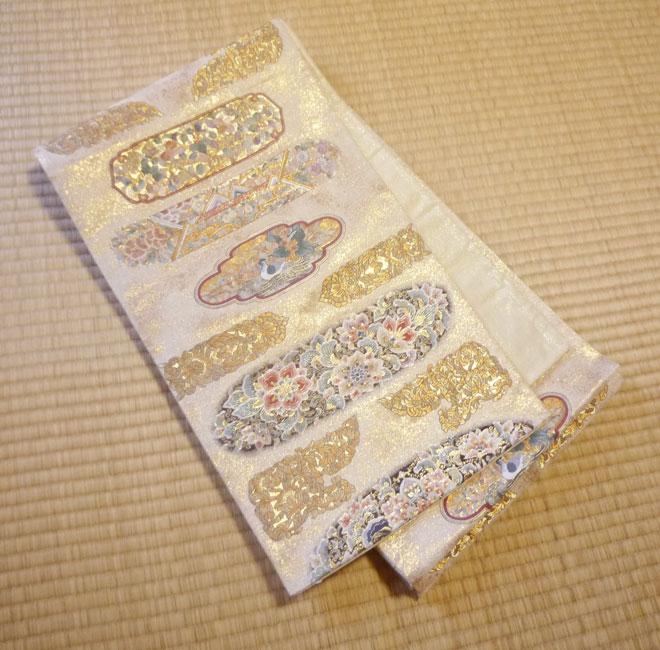 袋帯 正絹 金糸色 鳳凰柄 フォーマル リサイクル帯 アンティーク帯 中古帯
