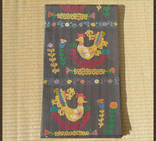 袋帯 正絹 干支 酉年 濃ねずみ色 未使用