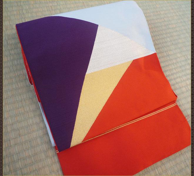 つづれ織 名古屋帯 正絹 朱金銀紫色 正月 リサイクル帯 アンティーク帯 中古帯