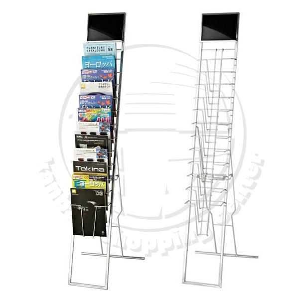 パネル付カタログスタンド(A4判12段)パンフレットスタンド カタログ入れ パンフレット入れ カタログ置き マガジンラック