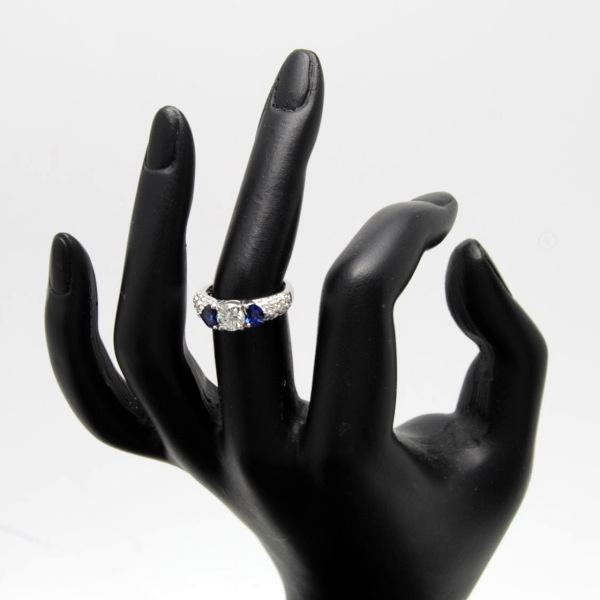 ♪リング 指輪♪ Pt900/サファイアS0.84 ダイヤD0.639 D0.40/#10 【JR881】【税込価格】【質屋出店】【中古】【あす楽対応】