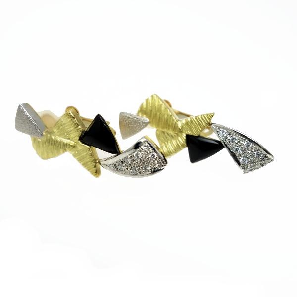 ♪イヤリング♪ K18Pt900/オニキス ダイヤD0,09×2 【JR1201】【税込価格】【質屋出店】【中古】【あす楽対応】