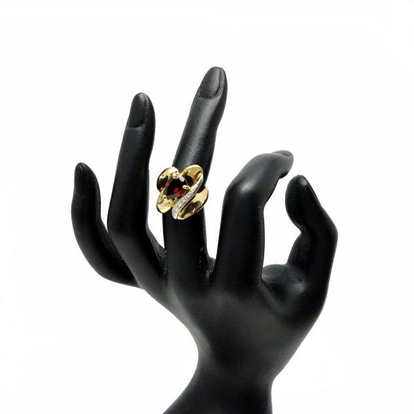 ♪リング 指輪♪ K18Pt900/ガーネット ダイヤD0,04/#8 【JR1351】【税込価格】【質屋出店】【中古】【あす楽対応】