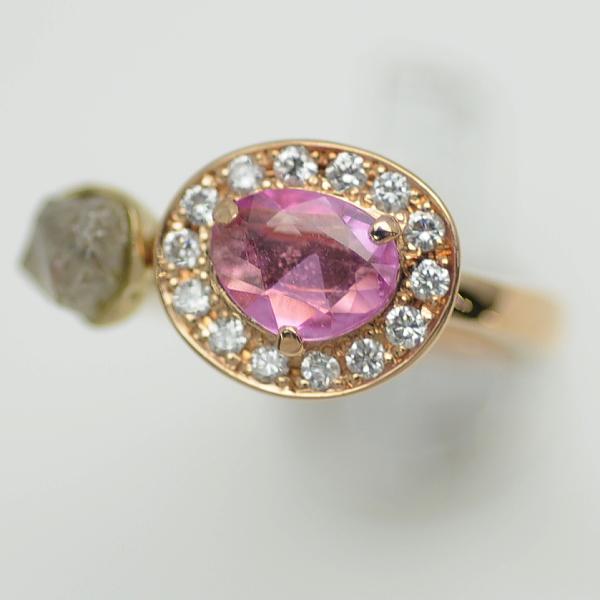 ♪リング 指輪♪ K18PG/ピンクサファイアS0,450 ダイヤ(原石)/#5 【JR1624】【税込価格】【質屋出店】【中古】【あす楽対応】