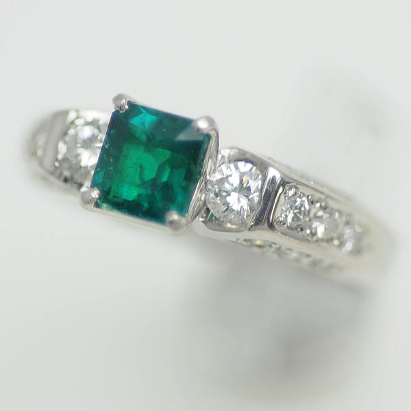 ♪リング 指輪♪ Pt900/エメラルドE0,63 ダイヤD0,44/#9 【JR1626】【税込価格】【質屋出店】【中古】【あす楽対応】