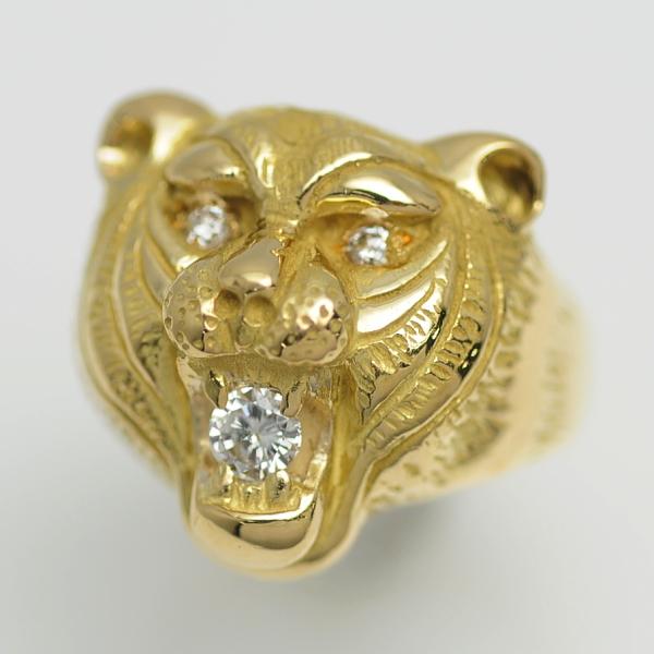 ♪リング 指輪♪ K18YG/ダイヤD0,307 D0,103/トラ/タイガー/#20 【JR1655】【税込価格】【質屋出店】【中古】【あす楽対応】