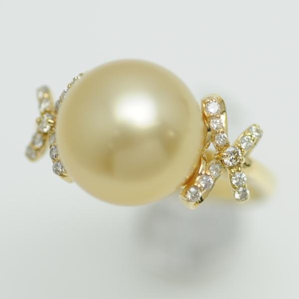 ♪リング 指輪♪ K18YG/ゴールデンパール11,5mm ダイヤD0,13/#12 【JR1659】【税込価格】【質屋出店】【中古】【あす楽対応】