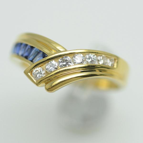 ♪リング 指輪♪ K18YG/サファイアS0,42 ダイヤD0,28/#15 【JR1662】【税込価格】【質屋出店】【中古】【あす楽対応】